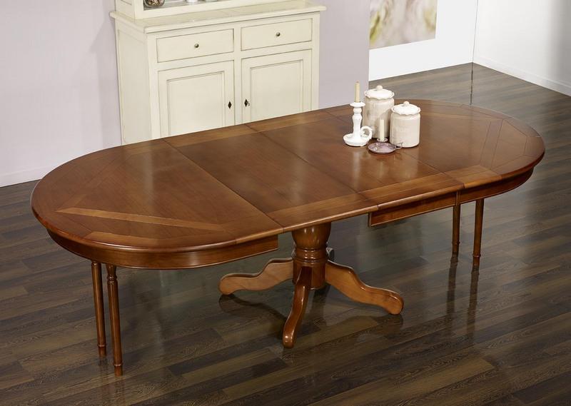 table ovale pied central annie 160x120 en merisier de style louis philippe plateau marquet. Black Bedroom Furniture Sets. Home Design Ideas
