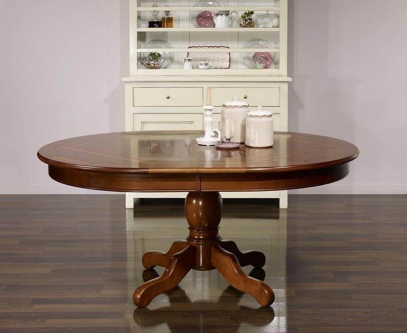 Table Ovale Pied Central Annie 160x120 En Merisier De Style Louis