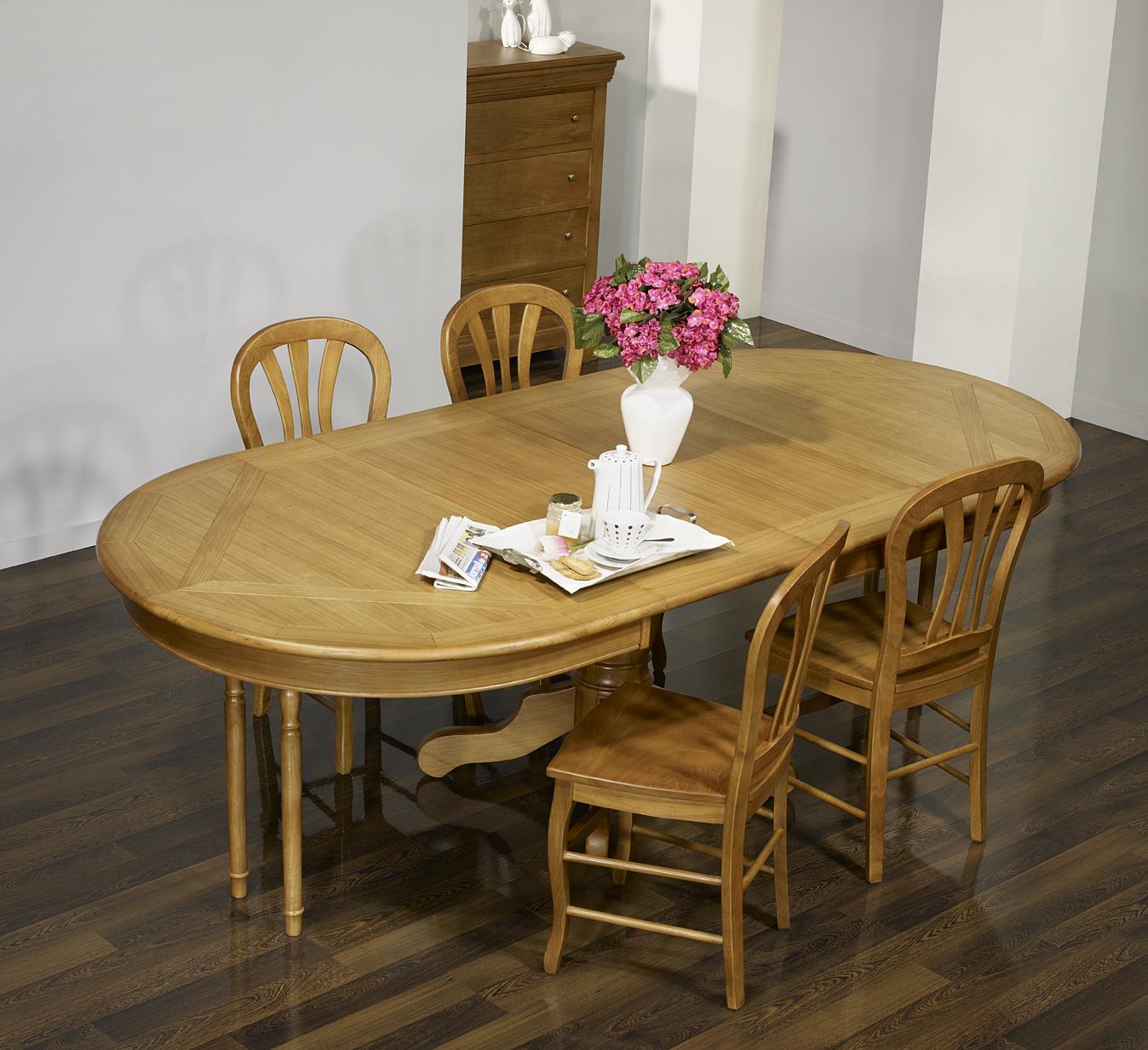 table ovale pied central fred ric 160x120 en ch ne de. Black Bedroom Furniture Sets. Home Design Ideas