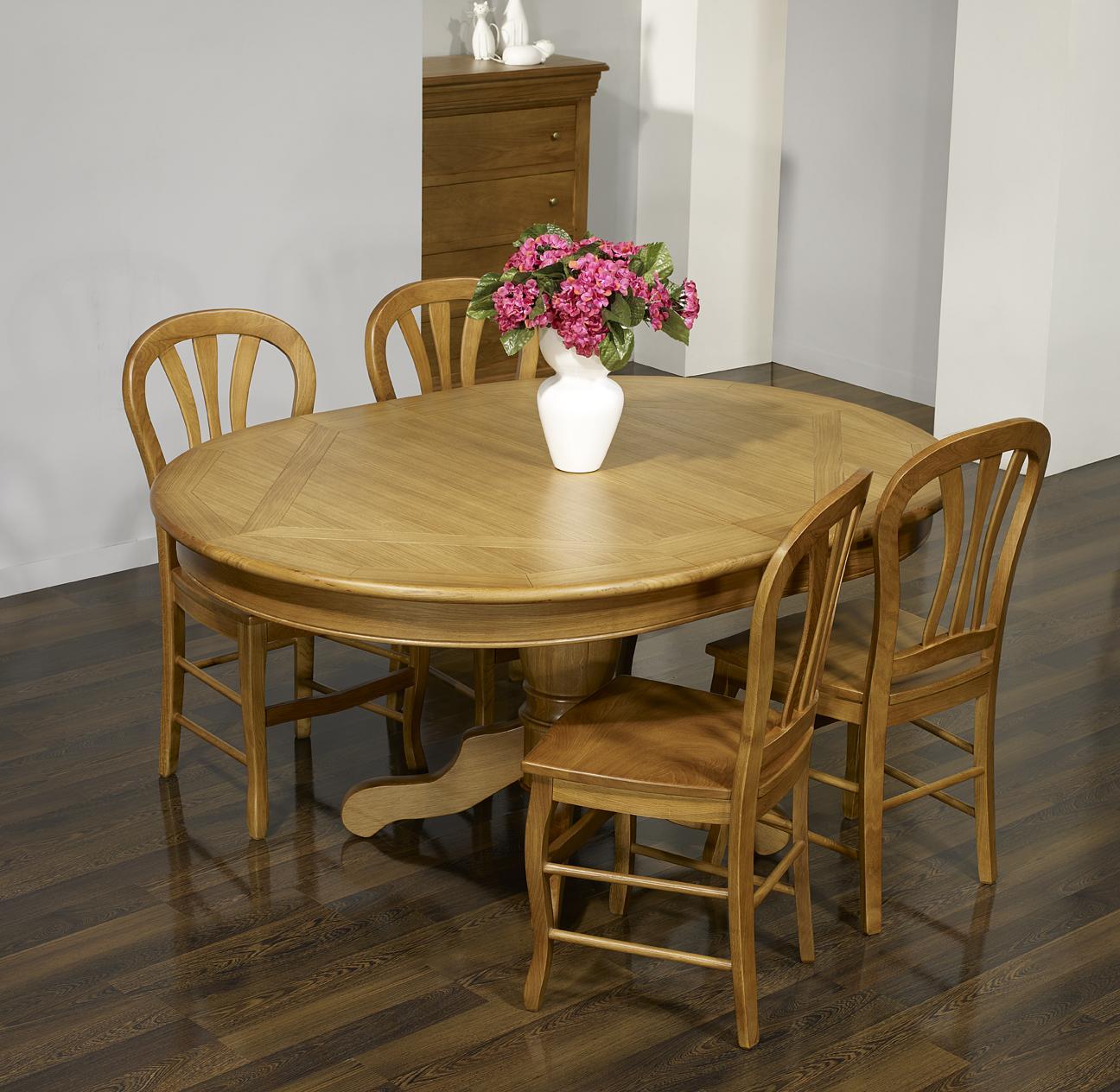 table ovale pied central fred ric 160x120 en ch ne de style louis philippe meuble en ch ne massif. Black Bedroom Furniture Sets. Home Design Ideas