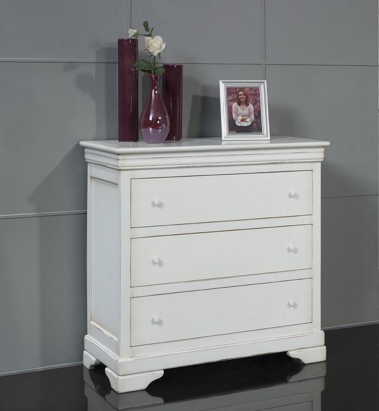 commode 3 tiroirs cl mence en merisier massif de style. Black Bedroom Furniture Sets. Home Design Ideas