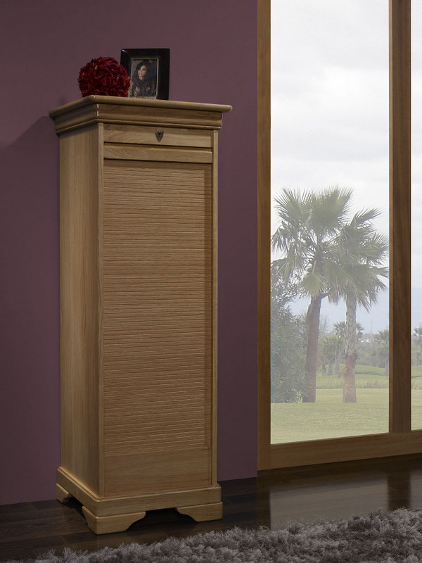 classeur rideau en ch ne de style louis philippe meuble en ch ne massif. Black Bedroom Furniture Sets. Home Design Ideas