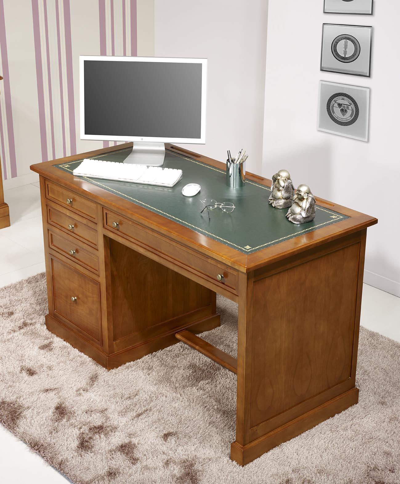 bureau 5 tiroirs jeanne en merisier de style louis. Black Bedroom Furniture Sets. Home Design Ideas