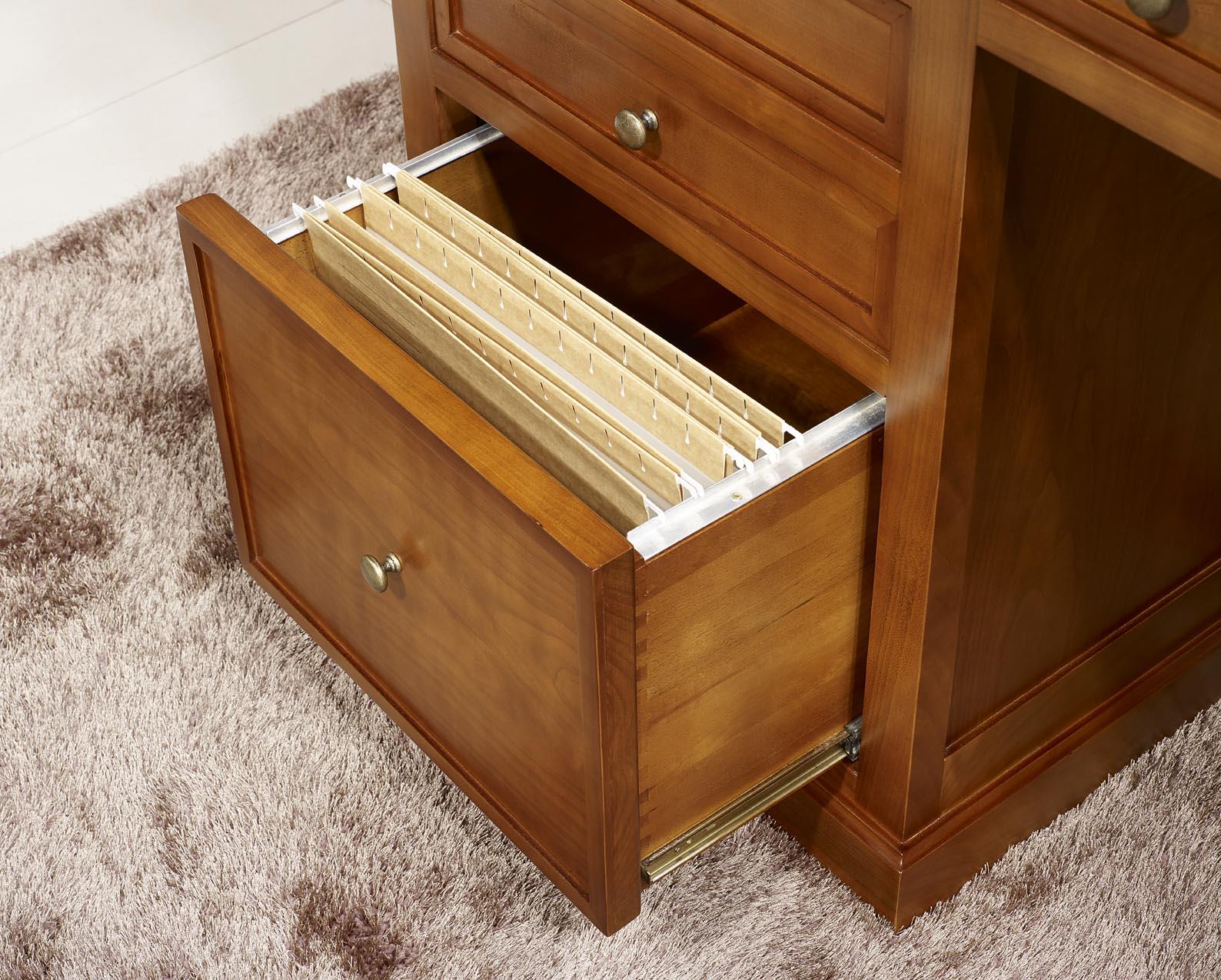 Bureau 5 tiroirs jeanne en merisier de style louis for Bureau merisier
