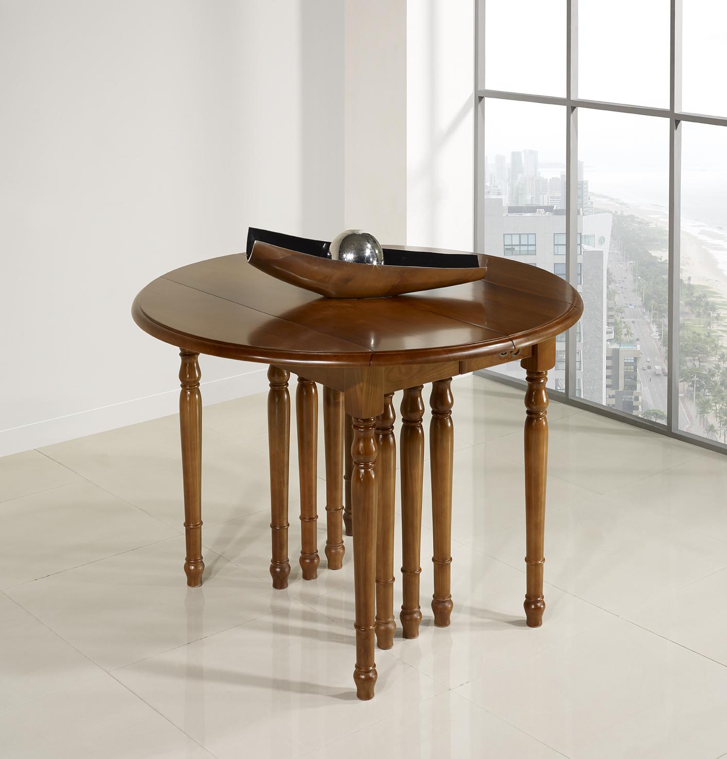 table ronde volets diametre 120 en merisier massif de style louis philippe 10 allonges de 40. Black Bedroom Furniture Sets. Home Design Ideas
