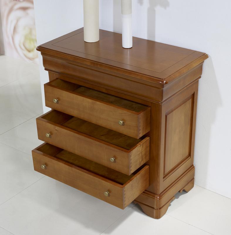Petite commode 4 tiroirs en merisier massif de style louis for Petit meuble a tiroir en bois