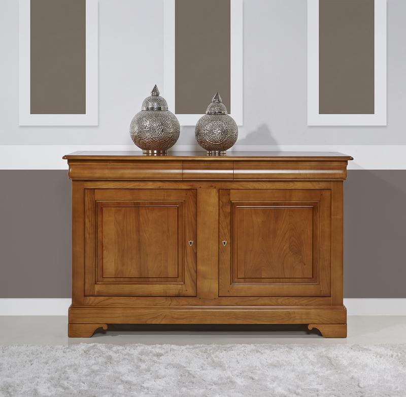 Buffet 2 portes 3 tiroirs en merisier massif de style for Meuble en bois a tiroir