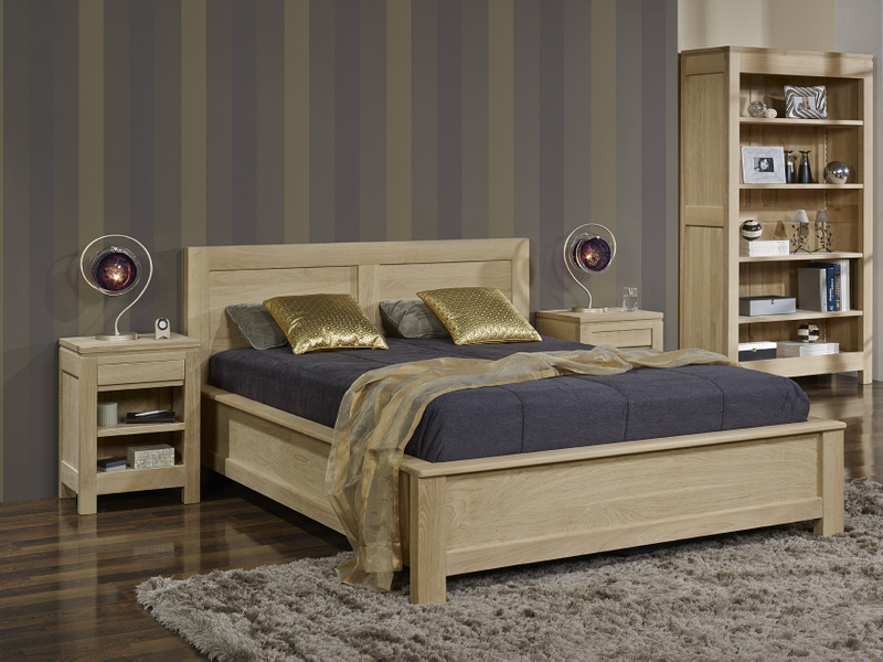 lit collection nature 140 190 en ch ne massif finition ch ne naturel bross meuble en ch ne massif. Black Bedroom Furniture Sets. Home Design Ideas