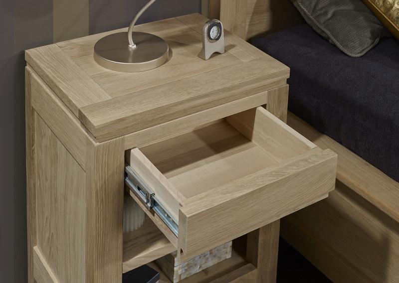 Table de nuit 1 tiroir 1 niche collection nature en ch ne - Table de chevet chene clair ...