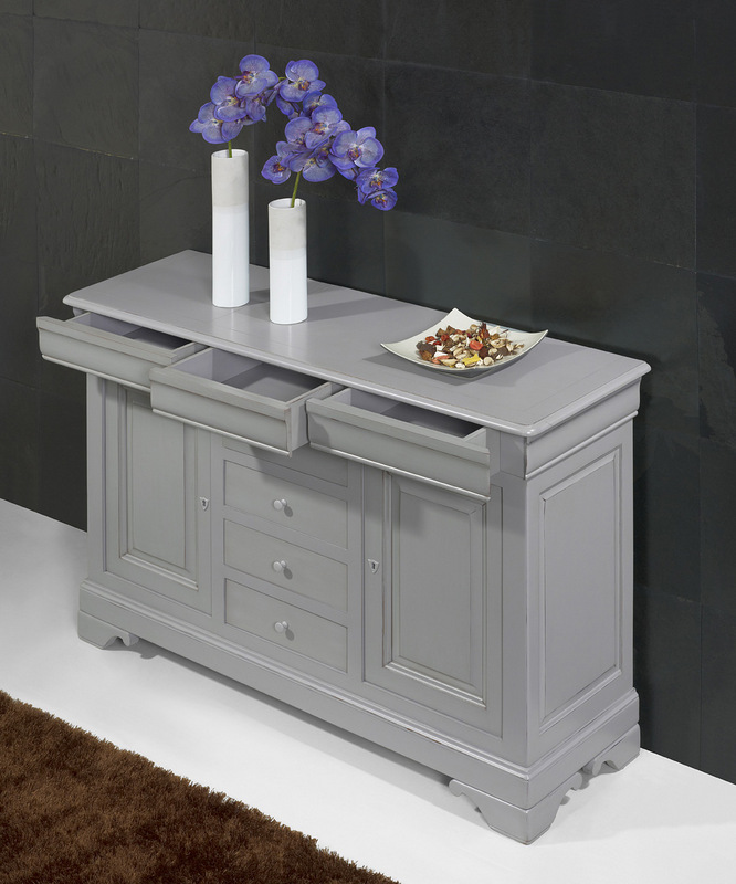 petit buffet 2 portes 7 tiroirs en merisier massif de style louis philippe finition gris patin. Black Bedroom Furniture Sets. Home Design Ideas