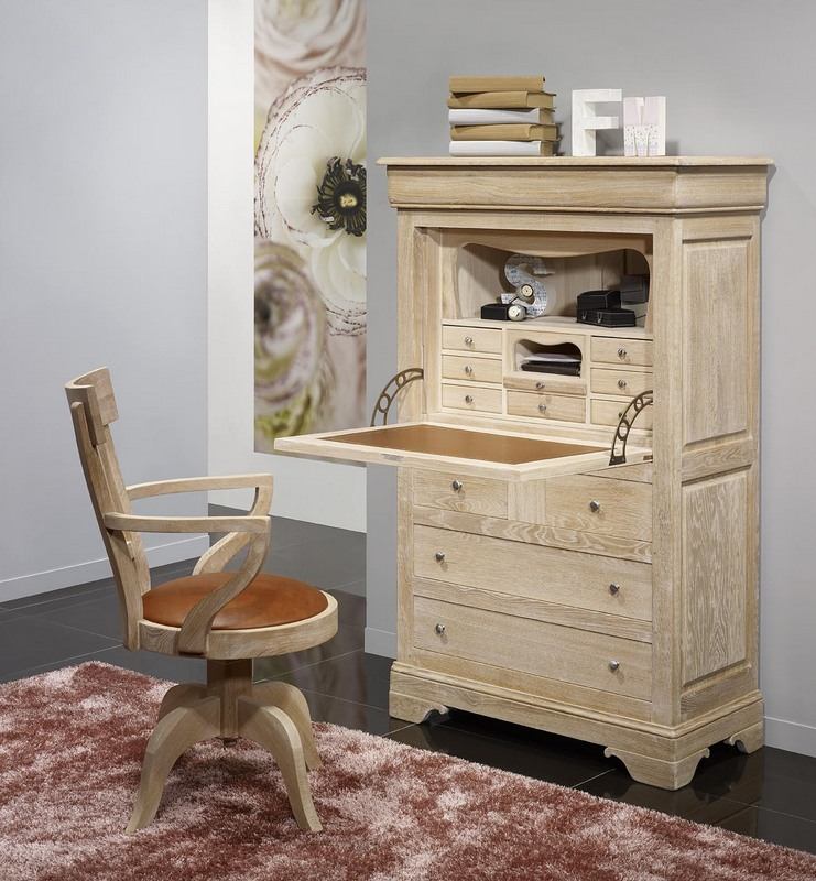 secr taire jules en ch ne massif de style louis philippe finition ch ne bross blanchi sueface d. Black Bedroom Furniture Sets. Home Design Ideas