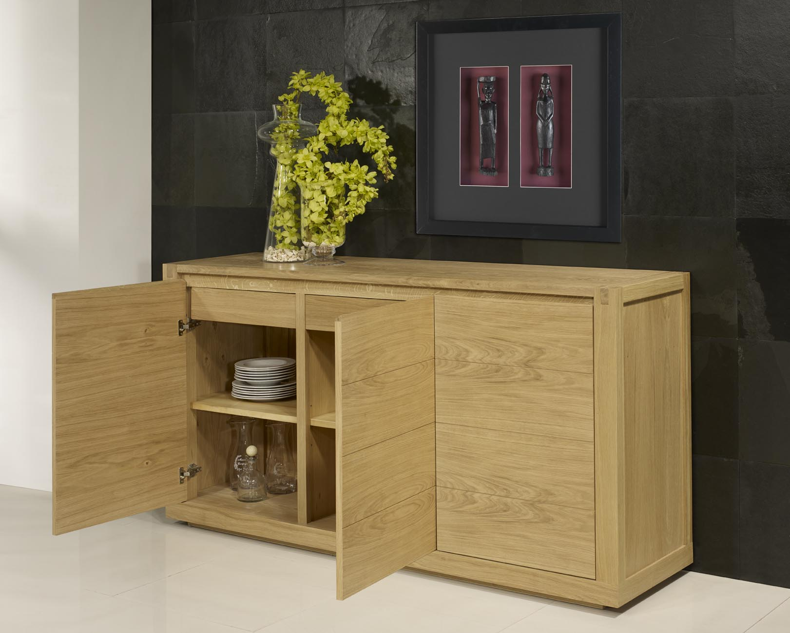 Buffet 3 portes mathis en ch ne de style contemporain finition ch ne bross n - Buffet bois massif contemporain ...