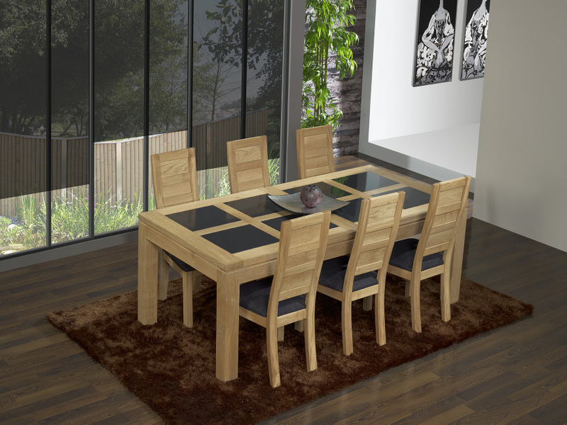 table de repas rectangulaire 200x100 mathis en ch ne ligne contemporaine meuble en ch ne massif. Black Bedroom Furniture Sets. Home Design Ideas