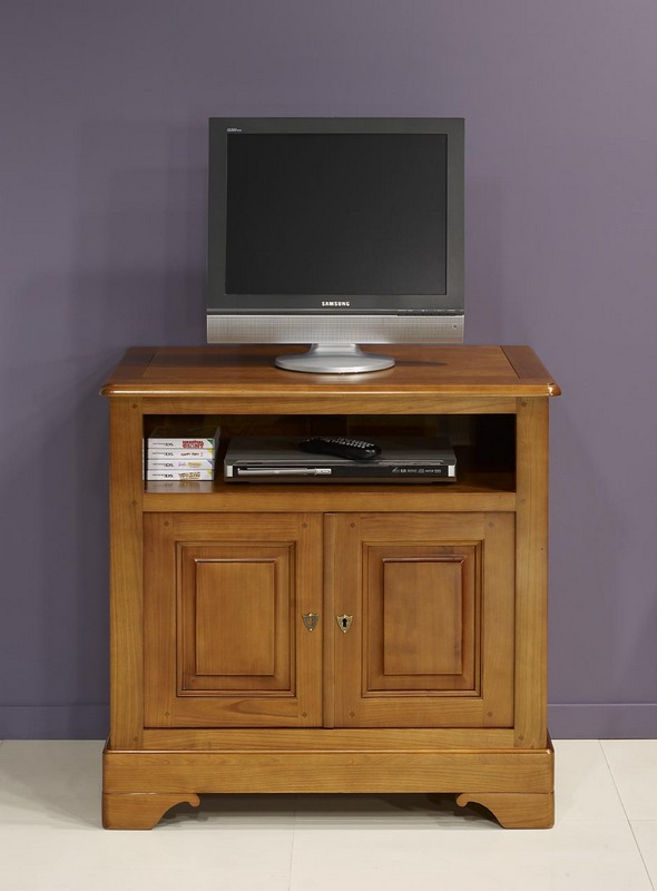meuble tv lise en merisier massif de style louis philippe. Black Bedroom Furniture Sets. Home Design Ideas