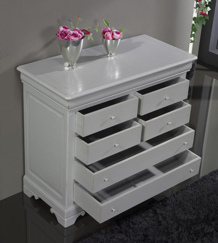 commode 7 tiroirs en merisier massif de style louis philippe finition gris patin et us. Black Bedroom Furniture Sets. Home Design Ideas