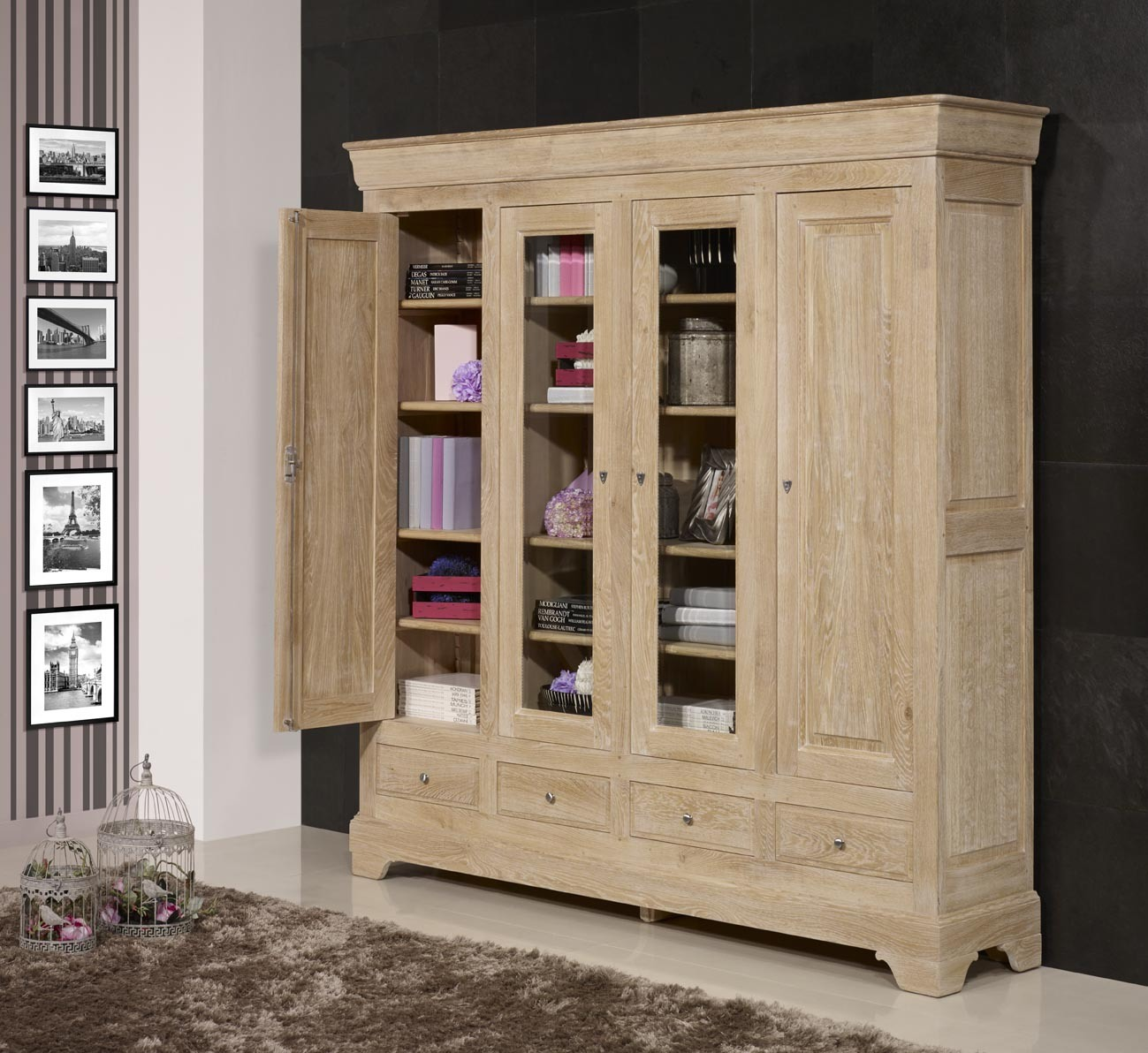 biblioth que 4 portes corentin en ch ne massif de style louis philippe finition ch ne bross. Black Bedroom Furniture Sets. Home Design Ideas