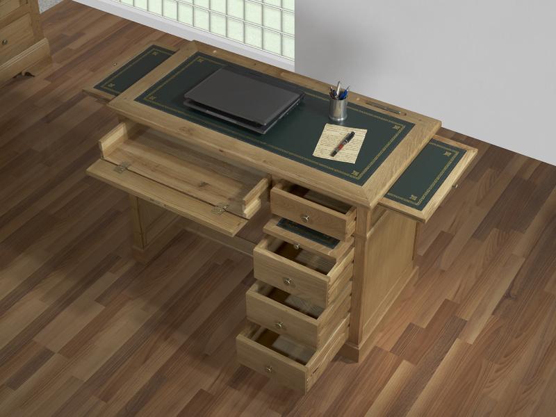 Bureau 5 tiroirs en ch ne de style louis philippe meuble for Meuble a tiroir sous bureau