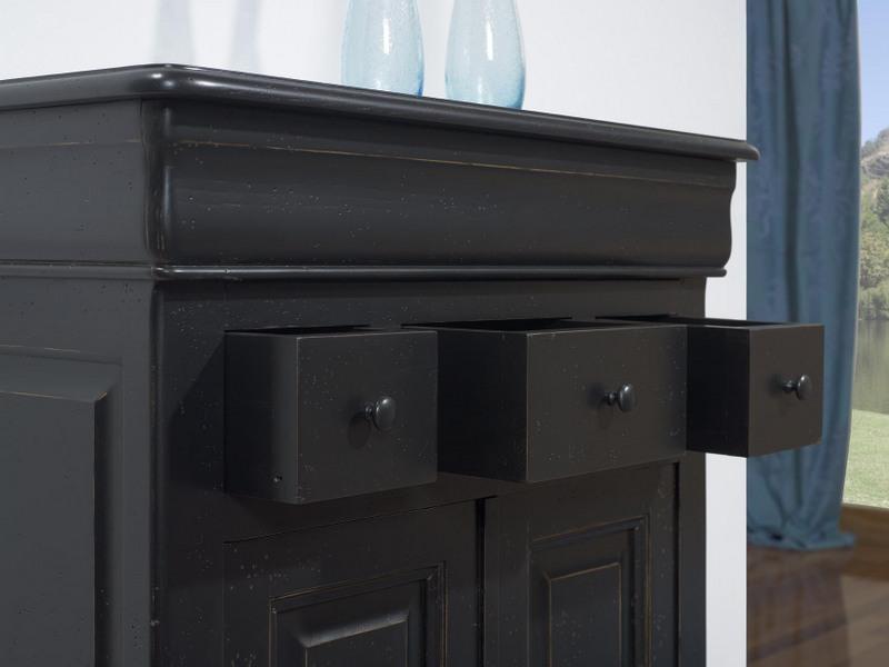 Petit buffet 2 portes 4 tiroirs timothy en ch ne massif de for Meuble noir et bois