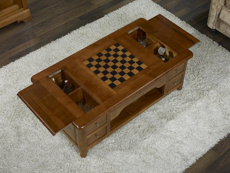 table basse jeu d 39 chec en merisier de style louis philippe meuble en merisier massif. Black Bedroom Furniture Sets. Home Design Ideas