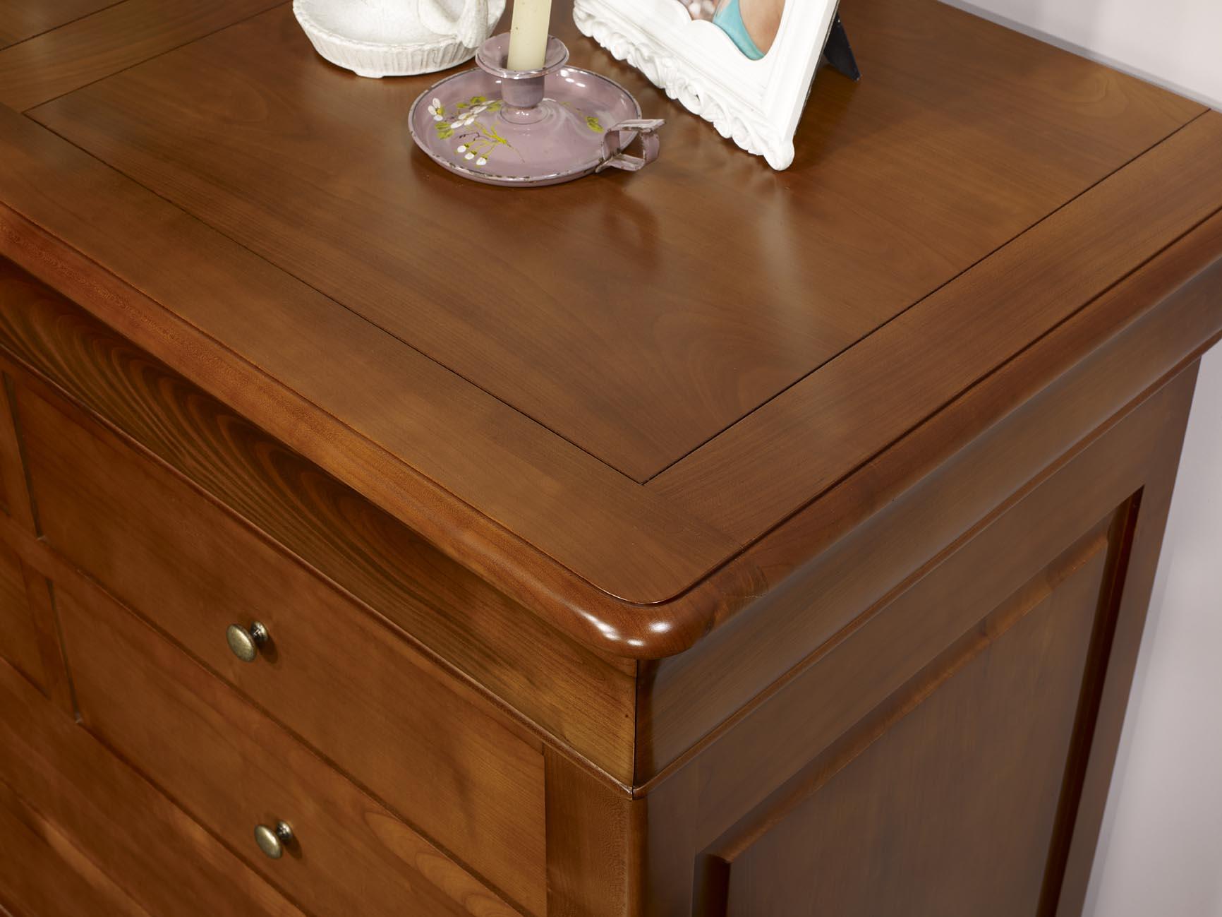 Commode 7 tiroirs en merisier massif de style louis philippe meuble en merisier massif - Meuble merisier style louis philippe ...