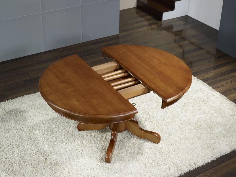 table ronde pieds central sabine en merisier massif de style louis philippe diametre 110 2. Black Bedroom Furniture Sets. Home Design Ideas
