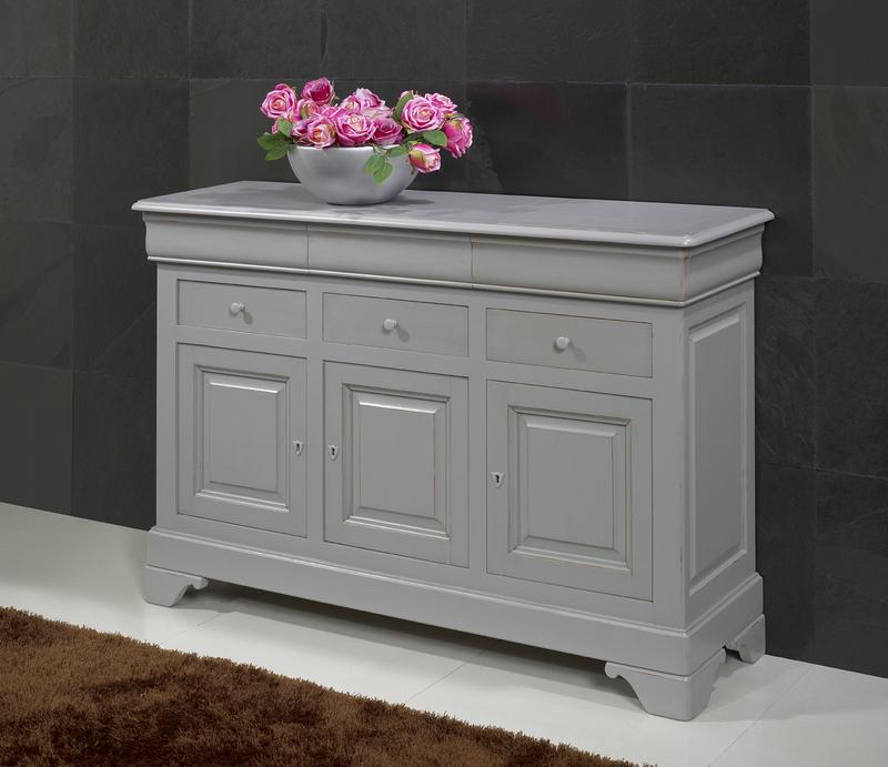 Petit buffet 3 portes 6 tiroirs en merisier massif de style louis philippe finition gris patin - Petit meuble merisier louis philippe ...