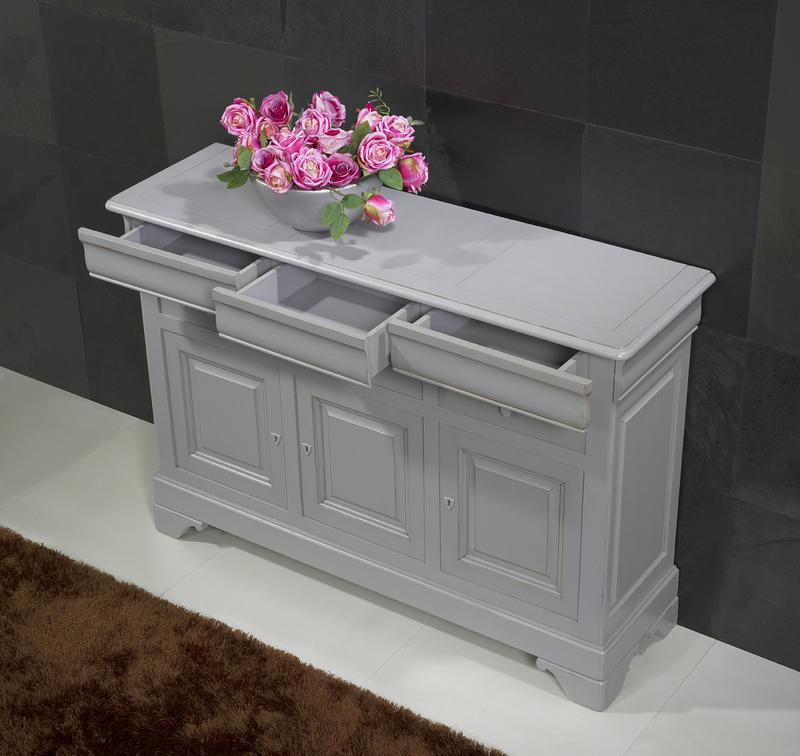 Petit buffet 3 portes 6 tiroirs en merisier massif de for Meuble bois gris