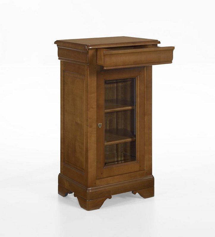 petite vitrine 1 porte 1 tiroir en merisier massif de style louis philippe meuble en merisier. Black Bedroom Furniture Sets. Home Design Ideas