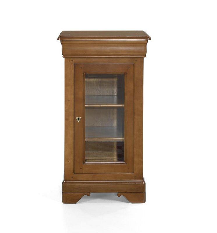 Petite vitrine 1 porte 1 tiroir en merisier massif de for Meuble vitrine une porte
