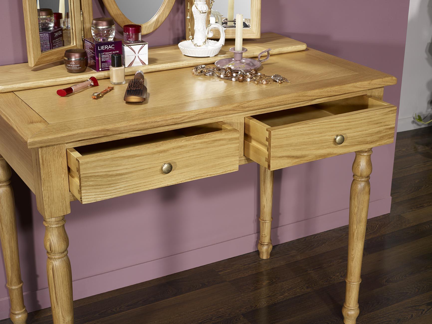 Table De Toilette Ou Coiffeuse Val Rie En Ch Ne De Style Louis  # Meuble En Bois Massif