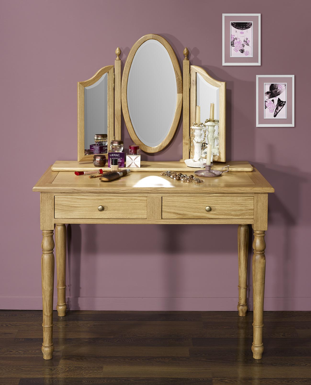 Table de toilette ou coiffeuse val rie en ch ne de style for Coiffeuse meuble