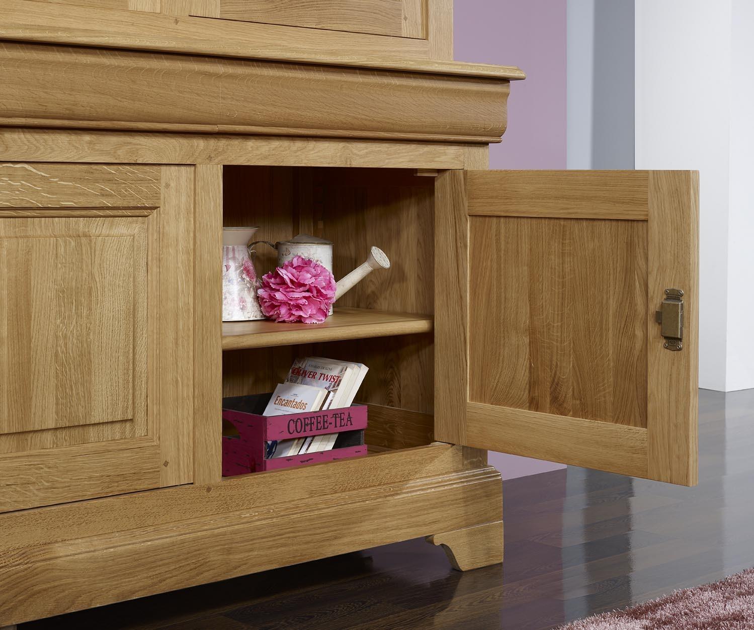 biblioth que 2 corps 3 portes en ch ne massif de style louis philippe meuble en ch ne massif. Black Bedroom Furniture Sets. Home Design Ideas