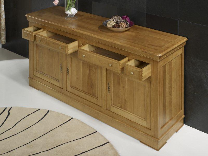 buffet 3 portes 4 tiroirs en ch ne massif de style louis. Black Bedroom Furniture Sets. Home Design Ideas