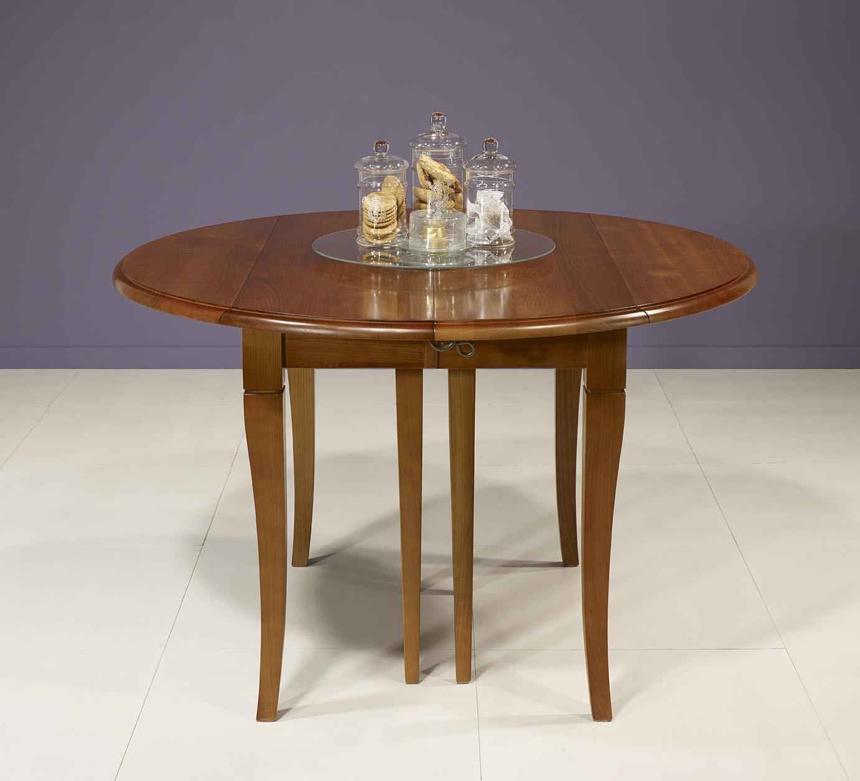 Table ronde volets diametre 110 en merisier massif de style louis philippe - Diametre table ronde ...
