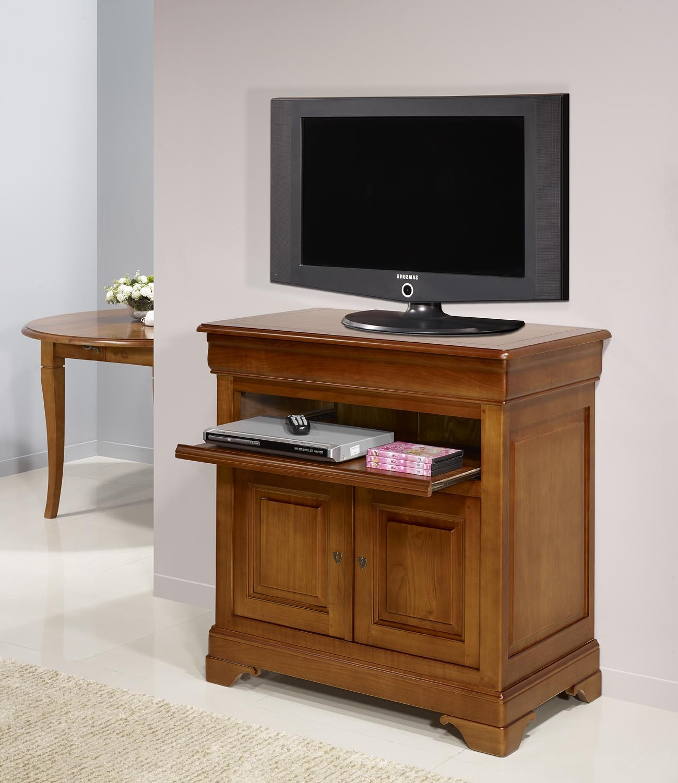 meuble tv 2 portes le en merisier massif de style louis. Black Bedroom Furniture Sets. Home Design Ideas