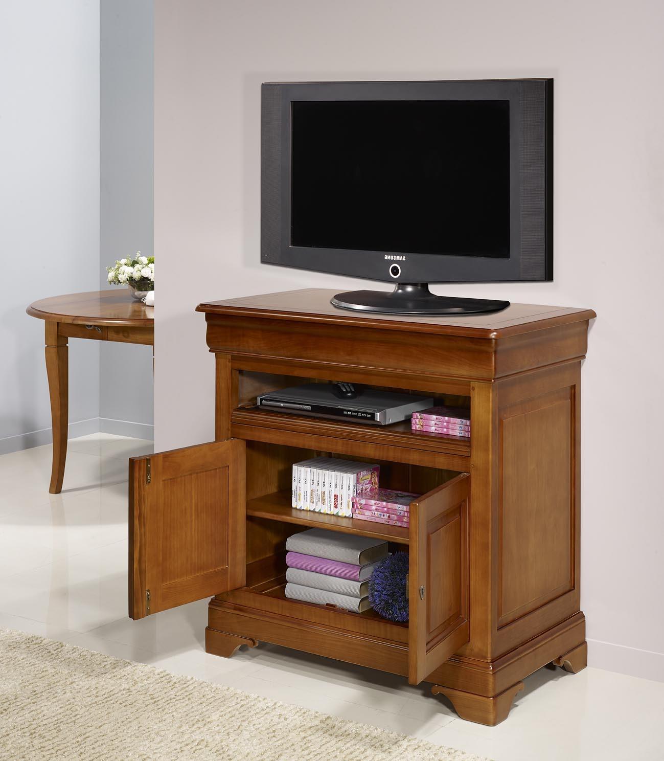 meuble tv 2 portes le en merisier massif de style louis philippe meuble en merisier massif. Black Bedroom Furniture Sets. Home Design Ideas
