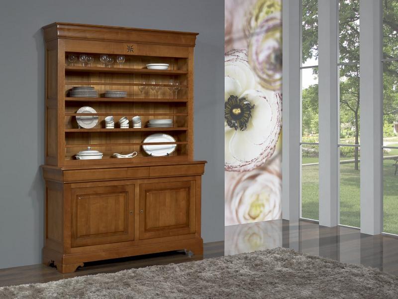 vaisselier 2 portes rose des vents en merisier massif de style louis philippe meuble en. Black Bedroom Furniture Sets. Home Design Ideas