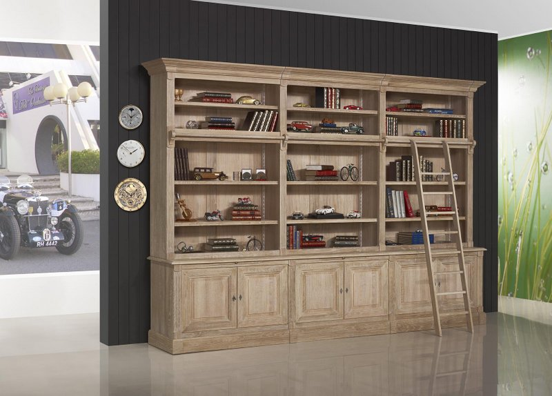 biblioth que 2 corps 6 portes alix en ch ne massif de style directoire avec echelle meuble en. Black Bedroom Furniture Sets. Home Design Ideas