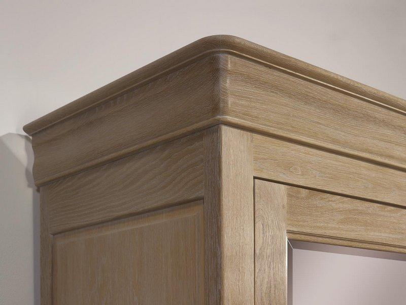 Armoire 2 portes guillaume en ch ne massif de style louis for Planche de bois chene blanchi