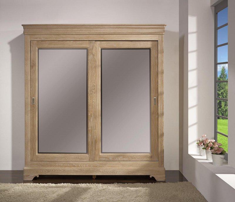 armoire 2 portes guillaume en ch ne massif de style louis. Black Bedroom Furniture Sets. Home Design Ideas