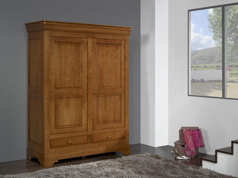 armoire 2 portes 2 tiroirs odile en merisier massif de. Black Bedroom Furniture Sets. Home Design Ideas