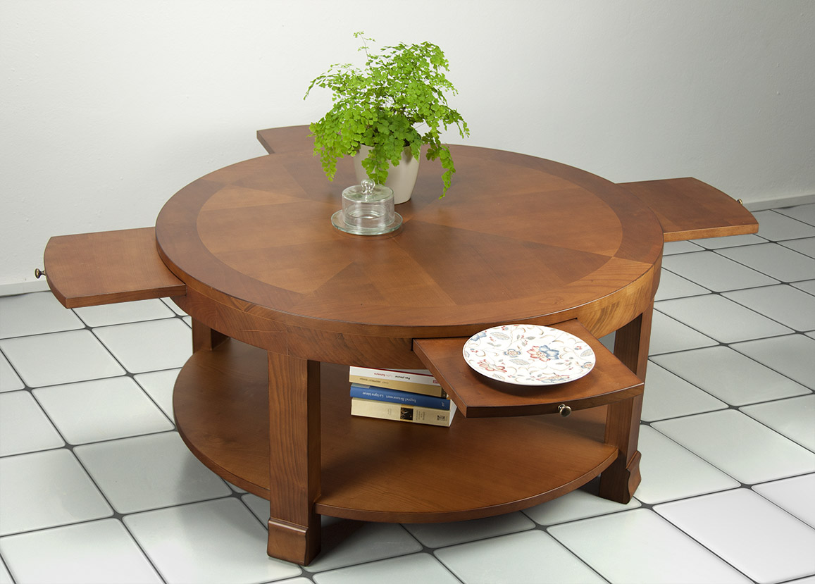 table basse ronde elsa en merisier de style contemporain meuble en merisier massif. Black Bedroom Furniture Sets. Home Design Ideas