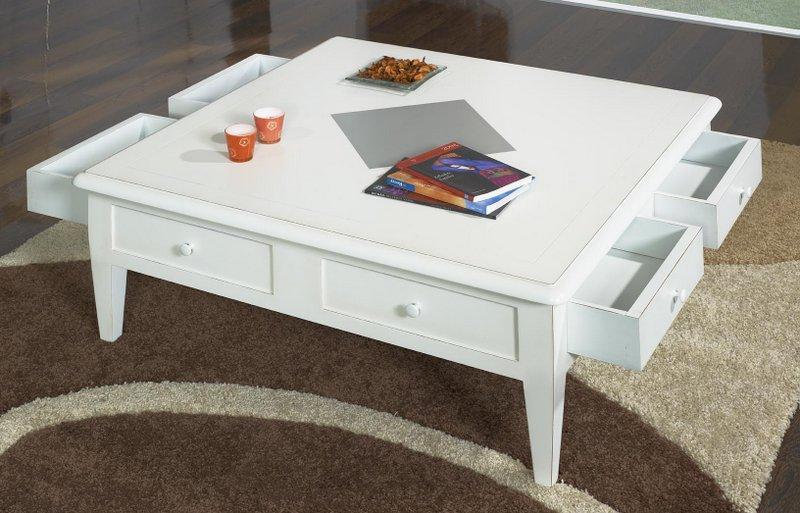 Table basse 100x100 Iris en Merisier de style Directoire Ivoire ...
