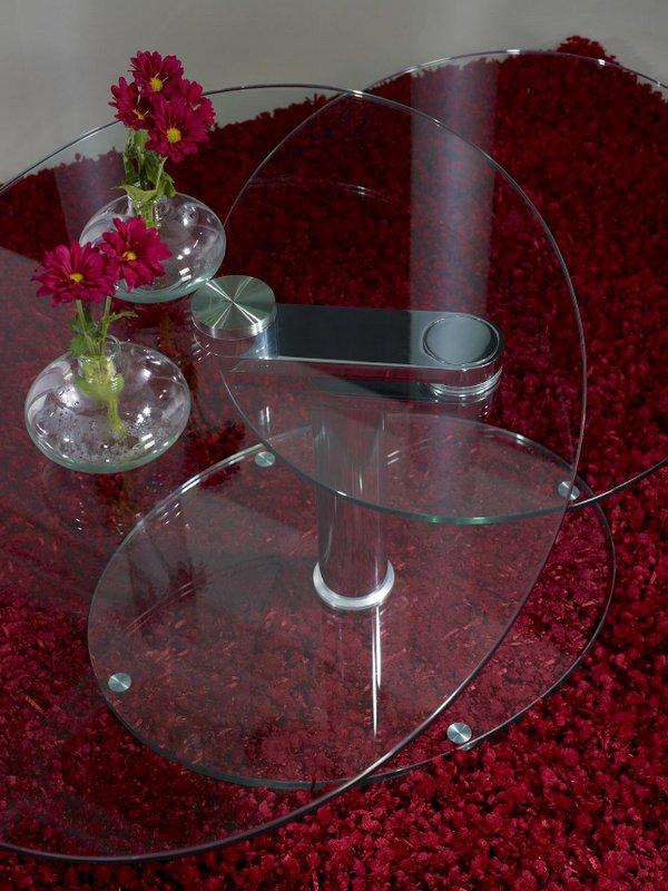 Table Basse Ovale Verre Et Chrome Articulée , Meuble En