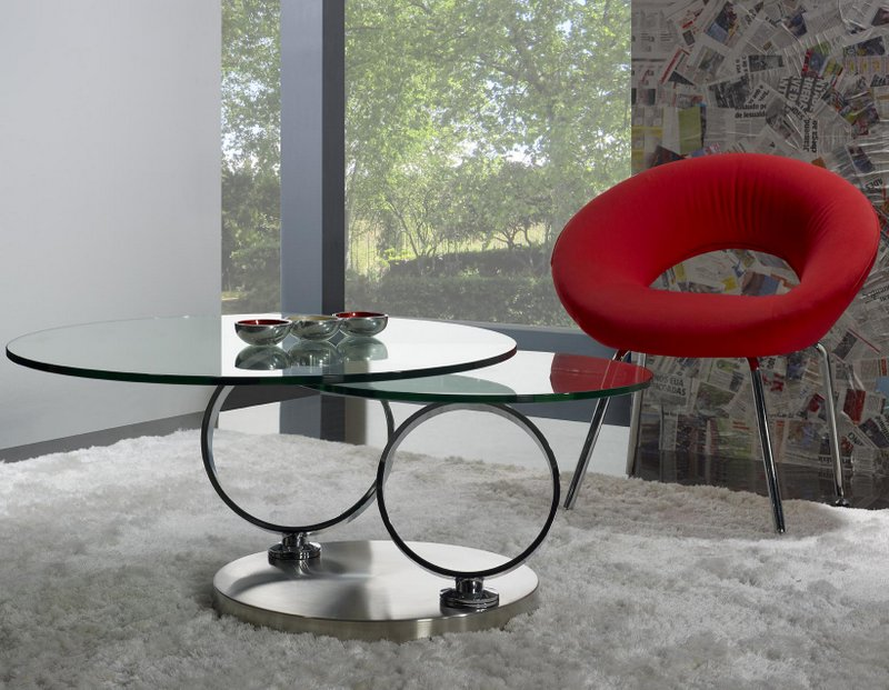 Table basse ronde en verre socle inox meuble en choisir - Table basse ronde en verre design ...