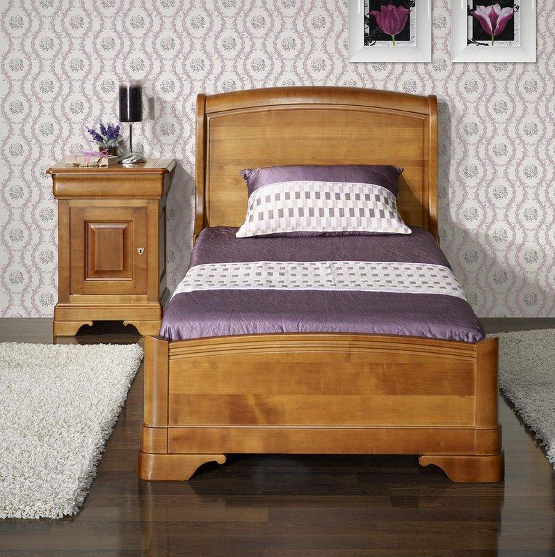 lit de style louis philippe odile en merisier meuble en merisier massif. Black Bedroom Furniture Sets. Home Design Ideas