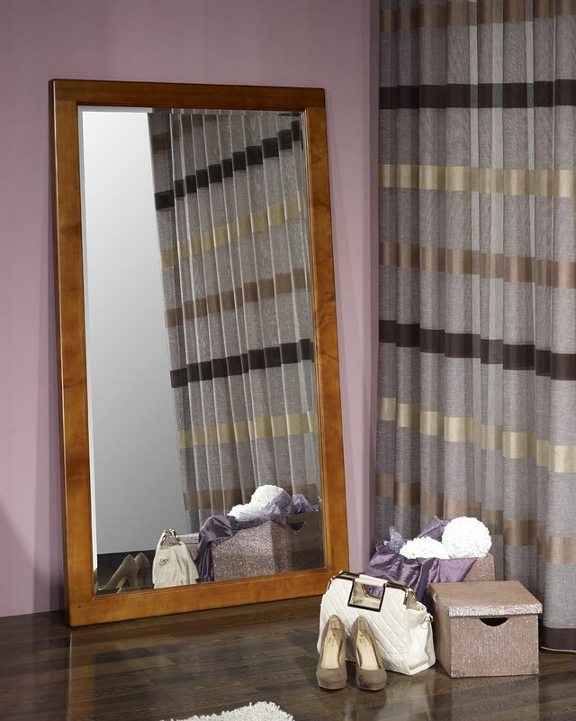 Miroir glace biseaut e en merisier massif meuble en for Glace miroir