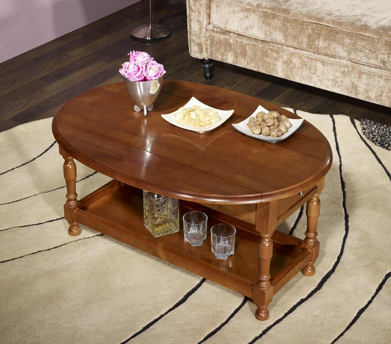 table basse ovale volets zo en merisier massif de style louis philippe meuble en merisier. Black Bedroom Furniture Sets. Home Design Ideas