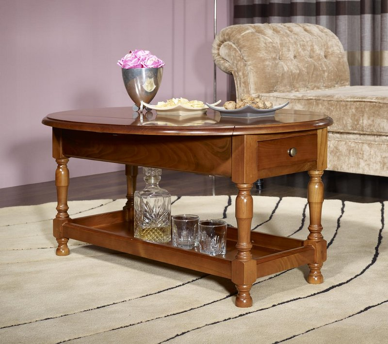 Table basse ovale volets zo en merisier massif de style louis philippe m - Table de salon ovale ...
