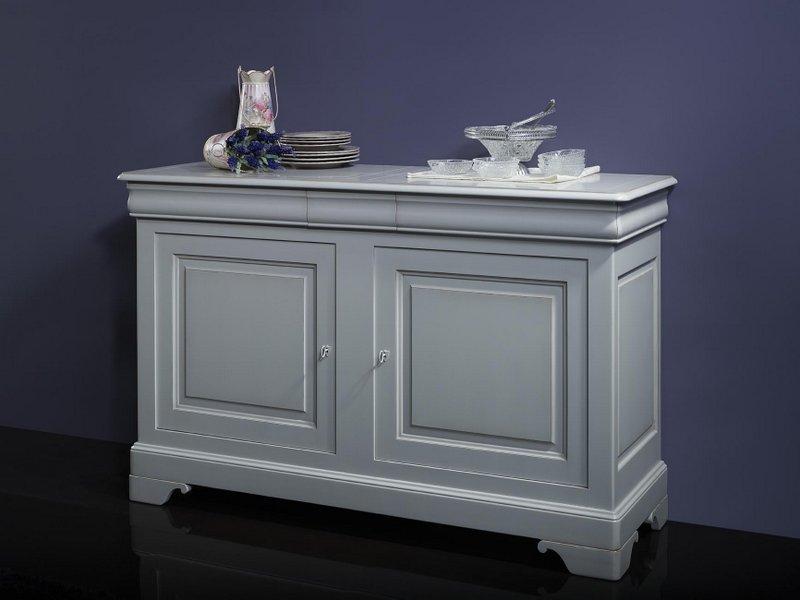 buffet 2 portes 3 tiroirs martine en merisier massif de style louis philippe finition gris perle. Black Bedroom Furniture Sets. Home Design Ideas
